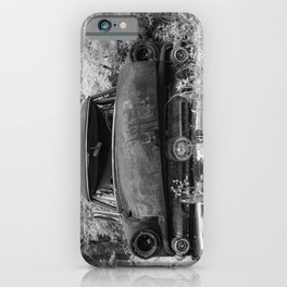 Rusting Station Wagon Infrared Black and White Abandoned iPhone Case
