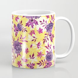 Marigolds and Borage Flowers Purple and Yellow Floral Pattern Coffee Mug
