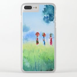 fields and workers Clear iPhone Case