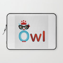 Cute owl wearing glasses and a crown Laptop Sleeve