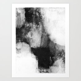 """Black and White Textured Abstract Painting """"Delve 3"""" Art Print"""