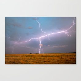 Electric Sky - Lightning Spans Entire Sky in Southern Oklahoma Canvas Print