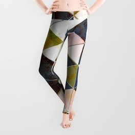 Marble Triangle Tiles in Green Gold  Leggings