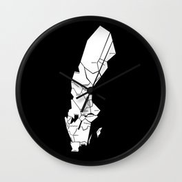 The Swedish landscapes - black Wall Clock