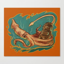 Squid & Tiki Canvas Print