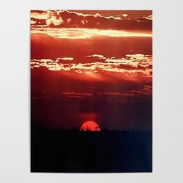 Burning Southern Setting Sun Poster