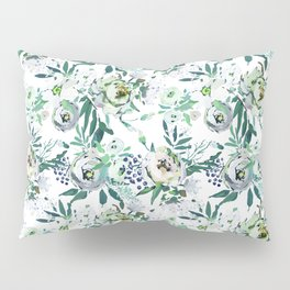 Country white green rustic watercolor floral Pillow Sham
