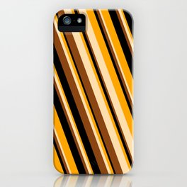 Orange, Tan, Brown, and Black Colored Striped Pattern iPhone Case
