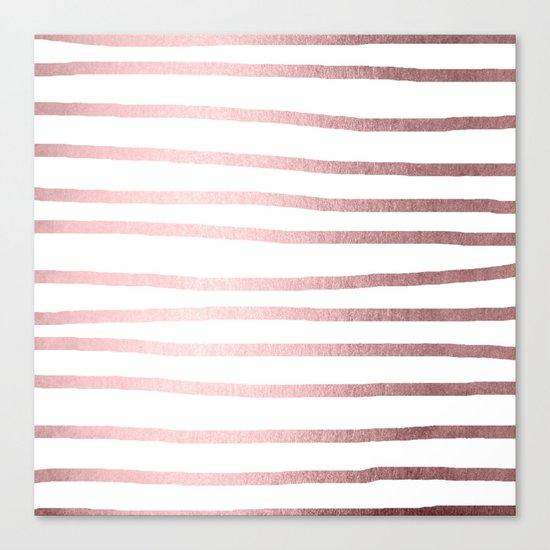 Simply Drawn Stripes Rose Quartz Elegance Canvas Print
