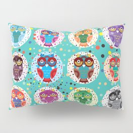 funny colored owls on a turquoise background Pillow Sham