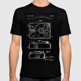 Turntable Patent - White on Black T-shirt