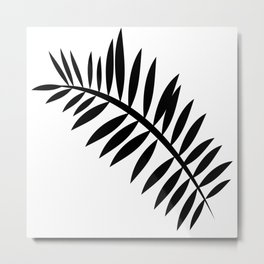 BLACK PALM LEAF Metal Print