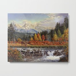 Mountain Man And Beaver Dam, Western, Frontier Mountain Landscape Metal Print