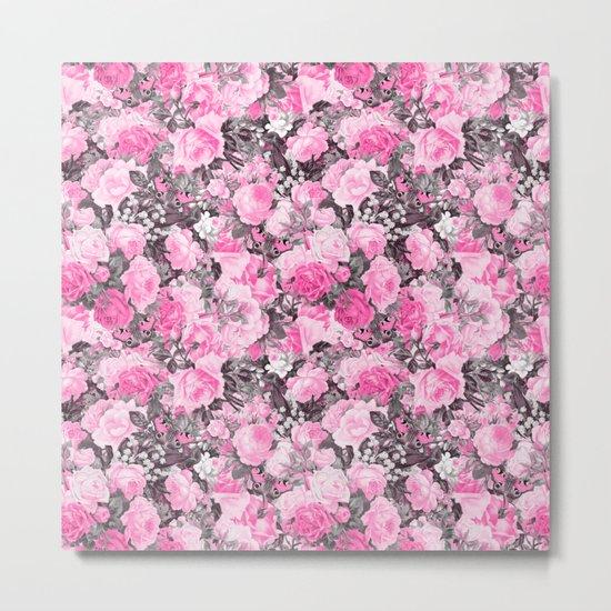 Floral pink vintage pattern Metal Print
