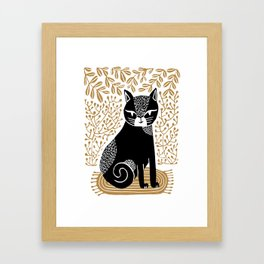 Friend - cat linocut art print, linocut art print, cat art print, black cat, botanical, house plants Framed Art Print