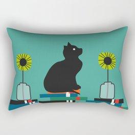 Cat, books and flowers Rectangular Pillow