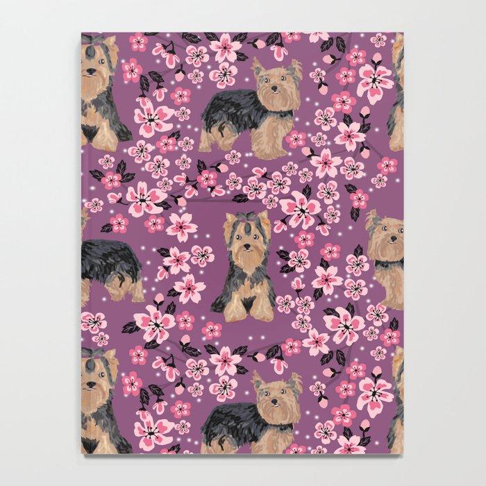 Yorkie cherry blossoms yorkshire terrier cute dog pattern pet friendly dog art Notebook
