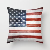 american flag Throw Pillows featuring American flag by Nicklas Gustafsson