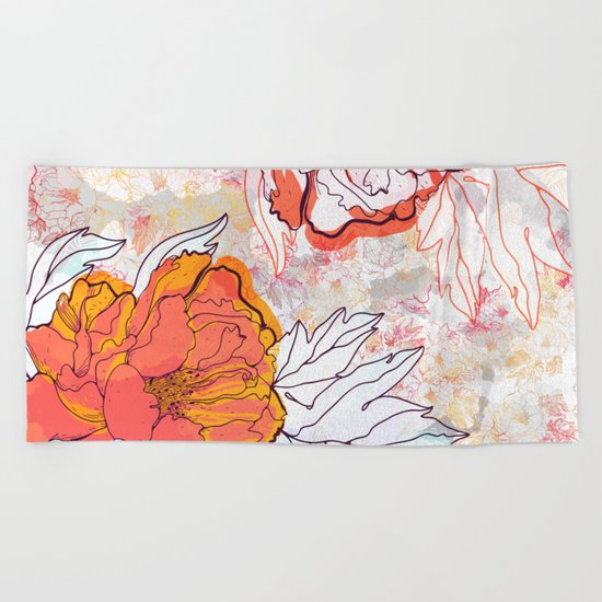 Abstract Floral Illustration Beach Towel