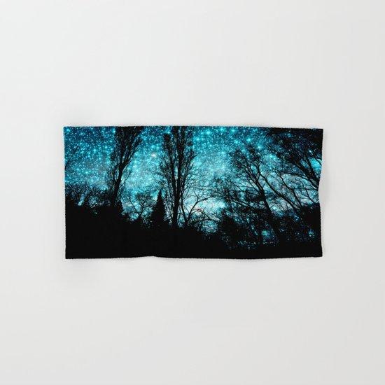 black trees teal space Hand & Bath Towel