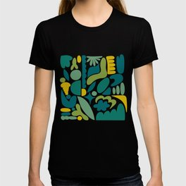 Modern Organic Abstract / Green-Yellow to Green-Blue Hues on Light Background T-shirt