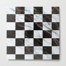 Zig zag checkered pattern with marbling Metal Print