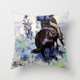 Across the Intervening Desert the Eyes of the Two Men Met in Grim Defiance - William Herbert Dunton Throw Pillow