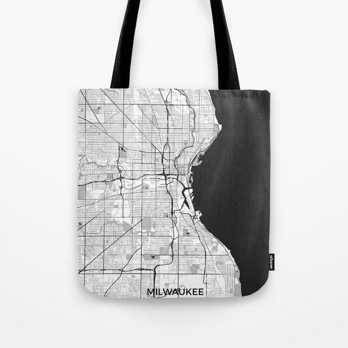 Milwaukee Map Gray Tote Bag
