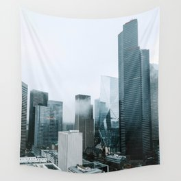 Rainy Downtown Seattle Skyscrapers Wall Tapestry