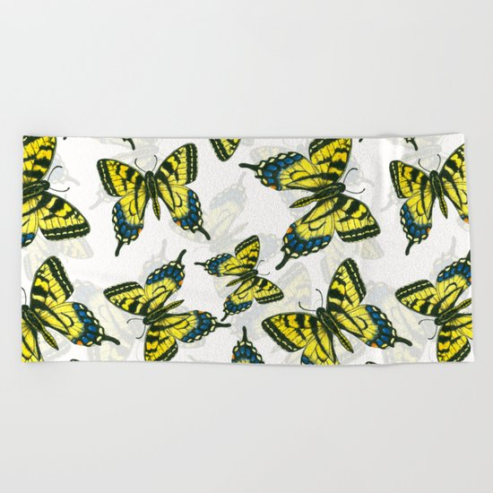 Tiger swallowtail butterfly watercolor pattern Beach Towel