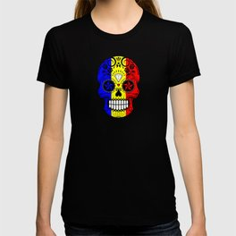 Sugar Skull with Roses and Flag of Romania T-shirt