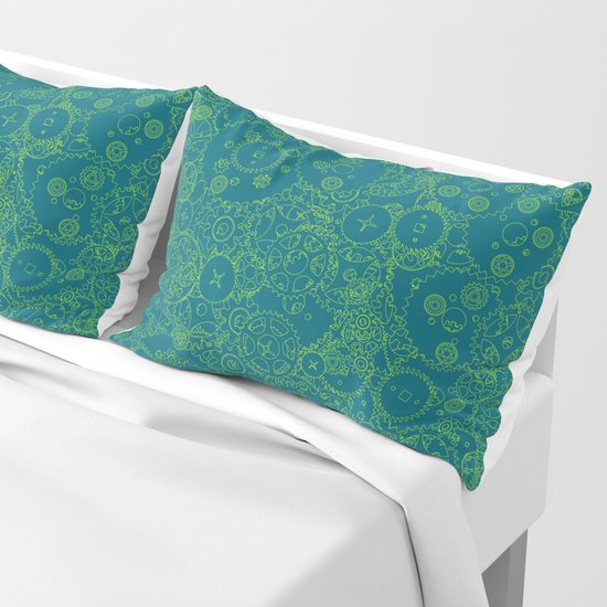 Clockwork Turquoise & Lime / Cogs and clockwork parts lineart pattern by grandeduc