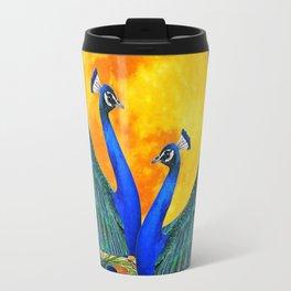 FULL GOLDEN MOON & 2  BLUE PEACOCKS PATTERN ART Travel Mug