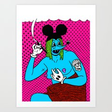 SMOKE.   (Mouseketeer).  (On Red). Art Print