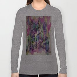 Colorful Rainbow Abstract Aspen Tree Colorado Painting Long Sleeve T-shirt