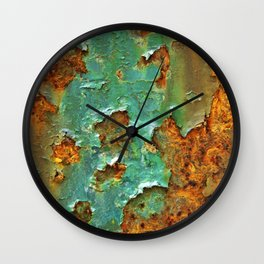 Rust and Deep Aqua Blue Abstract Wall Clock