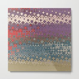 Asymmetrical Abstract Design in Gold, Red, Purple and Blue Metal Print