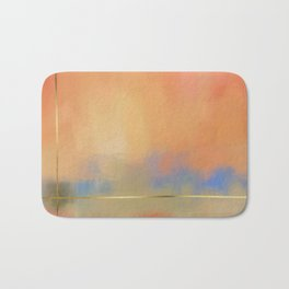 Abstract Landscape With Golden Lines Painting Bath Mat