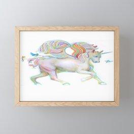 Winged Unicorn with Bluebirds Framed Mini Art Print