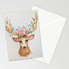 Deer with Flower Crown Stationery Cards