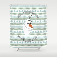 olaf Shower Curtains featuring Olaf the Snowman by Fox and Bunny Co.