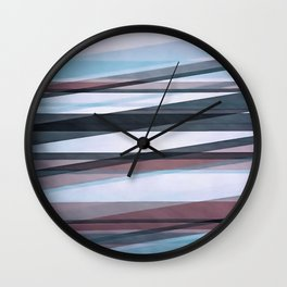 Semi Transparent Layers In Pale Blue Burgundy and Black Wall Clock