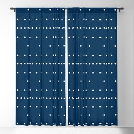 Aligned beige dots over dark blue Blackout Curtain