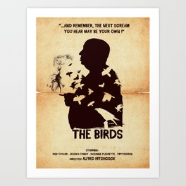 The Birds Hitchcock silhouette art Art Print