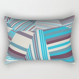 Skycraper Blues - Voronoi Stripes Rectangular Pillow