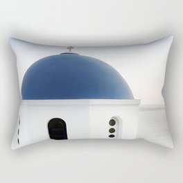 Santorini White and Blue Church View Rectangular Pillow
