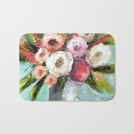 Peach and White Roses Bath Mat