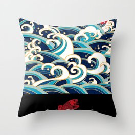 Rubino Sailing Water Great Wave Throw Pillow