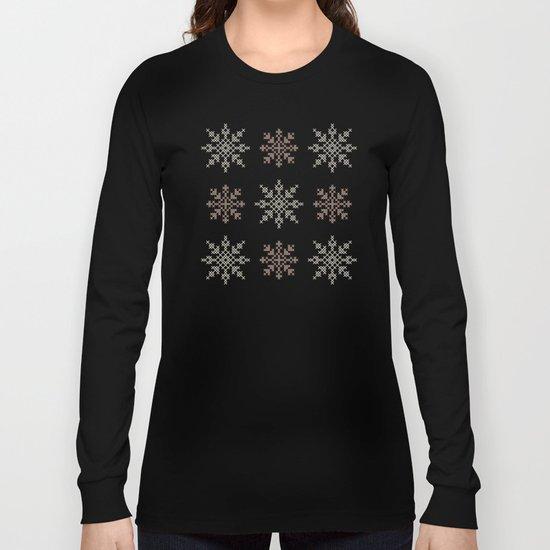 Snowflakes Cross Stitch Pattern (Mint) Long Sleeve T-shirt