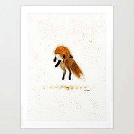 Fox Hop - animal watercolor painting Art Print